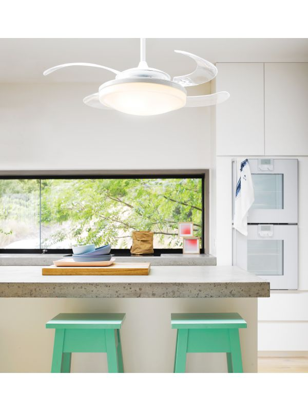 Fanaway Evo2 Endure White Ceiling Fan with Clear Retractable Blades and Light