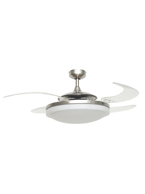 Fanaway Evo2 Endure Brushed Chrome Ceiling Fan with Retractable Blades and Light