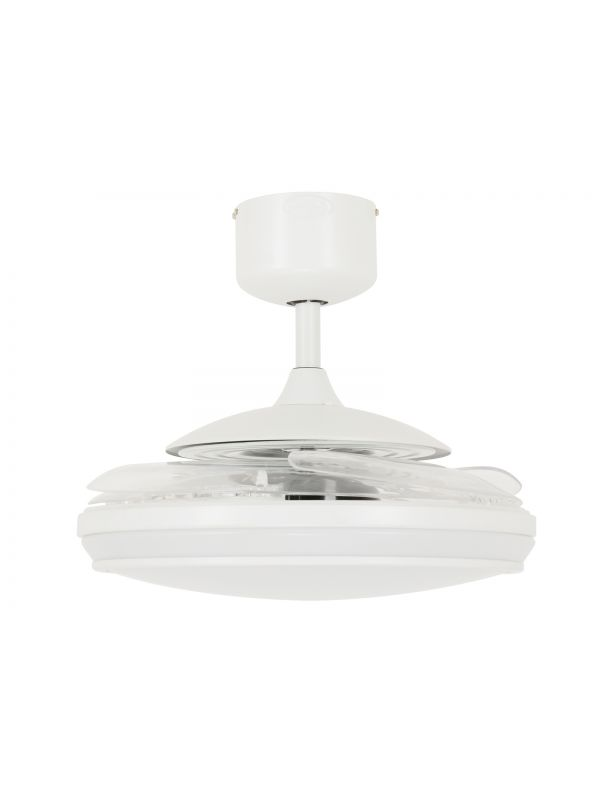 Fanaway Evo1 Prevail White Ceiling Fan with Clear Retractable Blades and LED Light and Remote