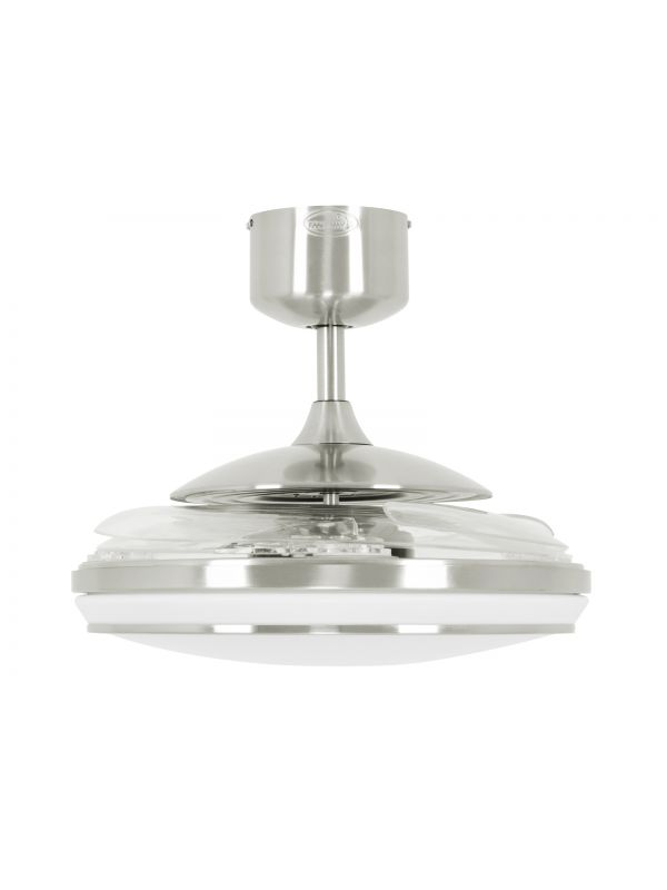 Fanaway Evo1 Prevail Brushed Chrome Ceiling Fan with Clear Retractable Blades and LED Light and Remote