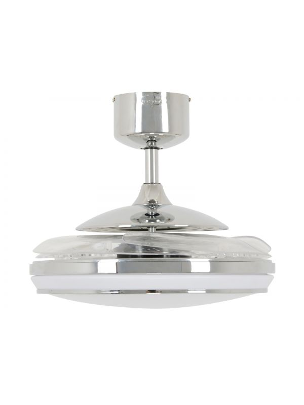 Fanaway Evo1 Prevail Chrome Ceiling Fan with Clear Retractable Blades and LED Light and Remote