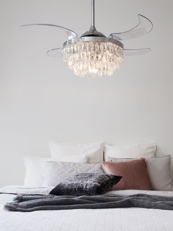 Fanaway Veil Ceiling Fan in Chrome with Clear Rectractable Blades and Light