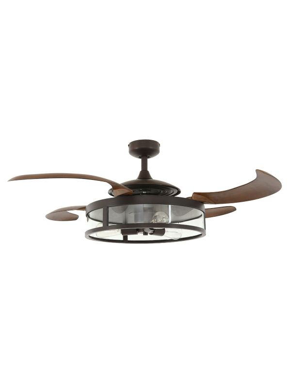 Fanaway Classic ORB Ceiling Fan With Brown Coloured Retractable Blades and Light