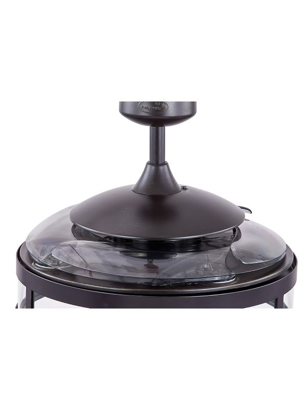 Fanaway Classic Ceiling Fan in Antique Black with 4 Retractable Smoke Blades and Light