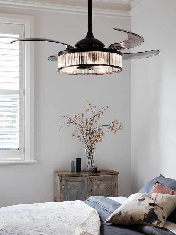 Fanaway Corbelle Ceiling Fan In Black With Smoke Coloured Retractable Blades With Light
